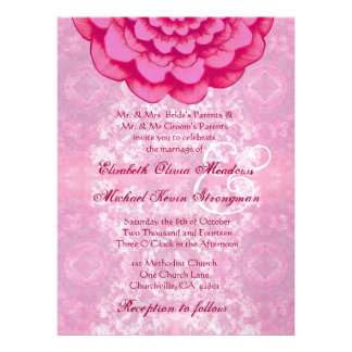 Pink Fantasy Flower and Vintage Wedding LARGE Personalized Invitation