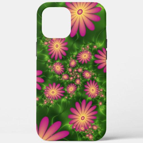 Pink Fantasy Flowers Modern Abstract Fractal Art Phone Case