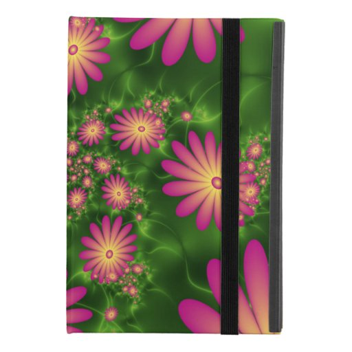 Pink Fantasy Flowers Modern Abstract Fractal Art iPad Mini 4 Case