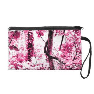 Pink Fantasy Forest Artsy Photo Wristlet Bag