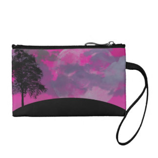 Pink fantasy moon, clouds & black tree silhouette change purse