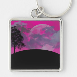 Pink fantasy moon, clouds, black tree silhouette Silver-Colored square keychain