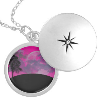 Pink fantasy moon, clouds & black tree silhouette necklaces