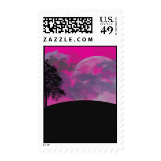 Pink fantasy moon, clouds & black tree silhouette postage