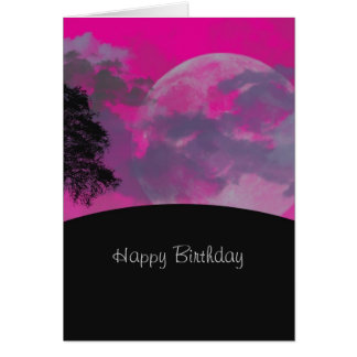 Pink fantasy moon, clouds, custom birthday card