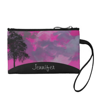 Pink fantasy moon, clouds & tree custom girls name coin wallet