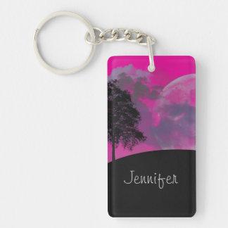 Pink fantasy moon, clouds & tree custom girls name keychain