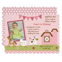 Pink Farm Animal 1st Birthday Card