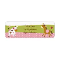 Pink Farm Animal Address Labels