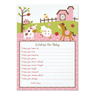 Pink Farm Animal Baby Girl Wishes for Baby Card