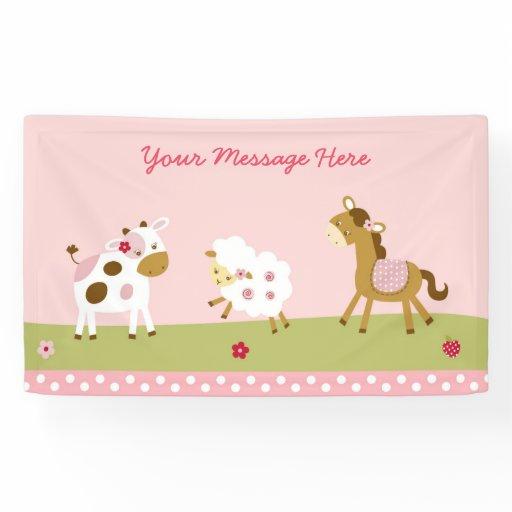 Pink Farm Animal Baby Shower Banner