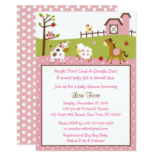 Pink Farm Animal Baby Shower Card
