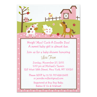 Pink Farm Animal Baby Shower Card