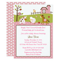 Pink Farm Animal Baby Shower Invitation