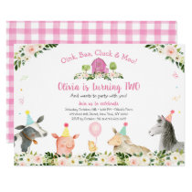 Pink Farm Animal Barnyard Floral 2nd Birthday Invitation