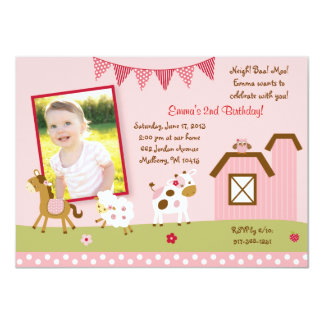 Pink Farm Animal Birthday Invitations