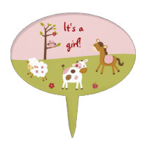Pink Farm Animal Cake Topper Cupcake Topper