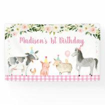 Pink Farm Animal Floral Birthday Banner