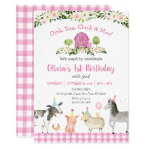 Pink Farm Animal Floral Birthday Invitation