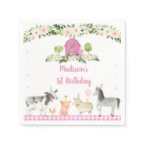 Pink Farm Animal Floral Birthday Napkins