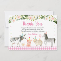 Pink Farm Animal Floral Birthday Thank You