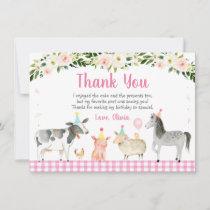 Pink Farm Animal Floral Birthday Thank You