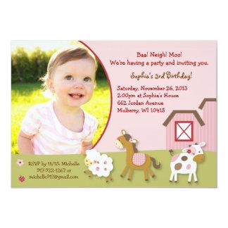"Pink Farm Animal Girl Photo Birthday Invitation 5"" X 7"" Invitation Card"