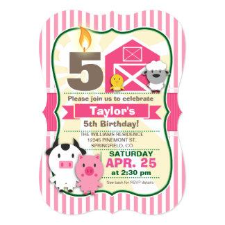 Pink Farm Animal, Girl's Birthday Party 5x7 Paper Invitation Card