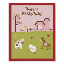 Pink Farm Animal Girls Birthday Sign