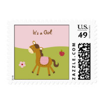 Pink Farm Animal Girls Postage Stamps