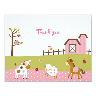 """Pink Farm Animal Girls Thank You Note Cards 4.25"""" X 5.5"""" Invitation Card"""