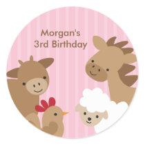 Pink Farm Animal Stickers