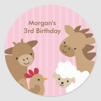 Pink Farm Animal Stickers Round Stickers