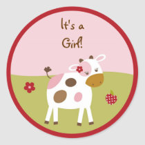 Pink Farm Animal Stickers Envelope Seals