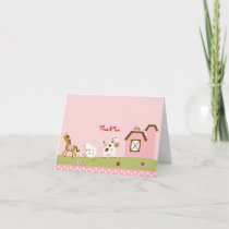 Pink Farm Animal Thank You Note Cards