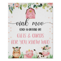 Pink Farm Animals Birthday Party Sign