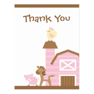 Pink farm animals girl's thank you post card