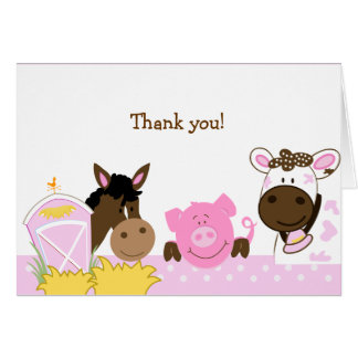 Pink Farm Babies Folded Thank you notes Card