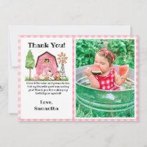 Pink Farm/ Barnyard Birthday Photo Thank You Card