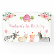 Pink Farm Barnyard Floral Birthday Banner