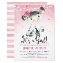 Pink Farm Cow Baby Shower Girl Invitation