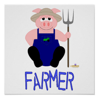 Pink Farmer Pig Blue Farmer Print