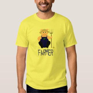 Pink Farmer Pig Blue Farmer T Shirt