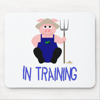 Pink Farmer Pig Blue In Training Mouse Pad