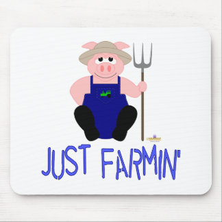 Pink Farmer Pig Blue Just Farmin' Mouse Pad