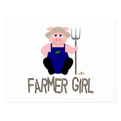 Pink Farmer Pig Brown Farmer Girl Postcard