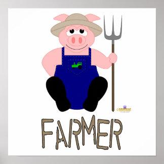 Pink Farmer Pig Brown Farmer Poster