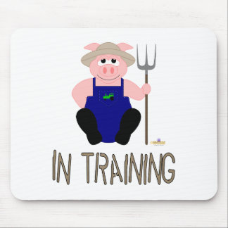 Pink Farmer Pig Brown In Training Mouse Pad
