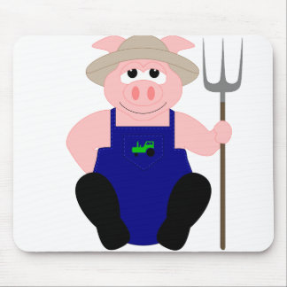 Pink Farmer Pig Mouse Pad