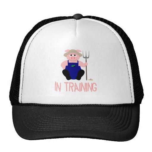 Pink Farmer Pig Pink In Training Trucker Hats